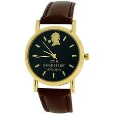 Die Sherlock Holmes Baker Street Herren Braun PU Armbanduhr 01/D