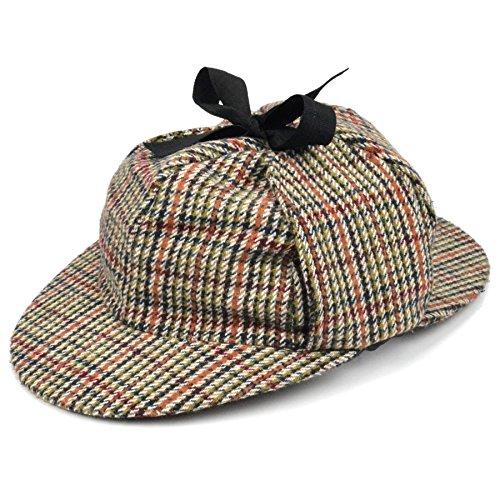 Sherlock-Holmes-Mütze, Tweed, Deerstalker- / Jagdhut, mit Augen- und Nackenschirm, Ohrenklappen