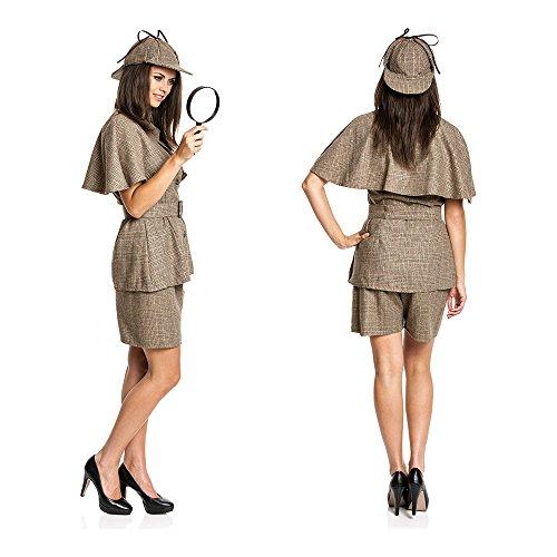 Kostümplanet® Detektiv Kostüm Damen mit Detektiv-Mütze sexy Detektivkostüm Damenkostüm Dedektiv Größe 36/38 - 6