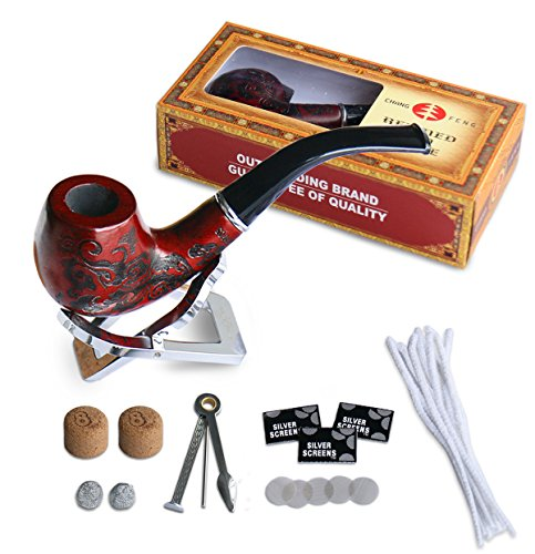 Joyoldelf klassische Tabakspfeife - Pfeifen aus Rot Sandelholz, Geschenk eine Box