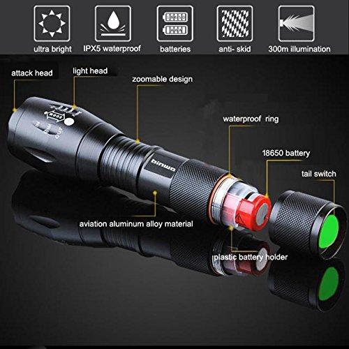 Binwo Superhelle 2000 LM Wiederaufladbaren Handheld LED Taschenlampe (Akku und Ladegerät im Lieferumfang enthalten) - 2