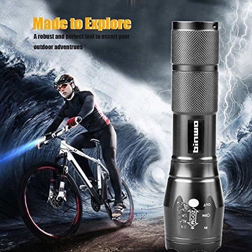 Binwo Superhelle 2000 LM Wiederaufladbaren Handheld LED Taschenlampe (Akku und Ladegerät im Lieferumfang enthalten) - 6