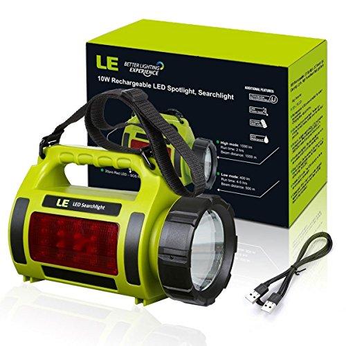 LE 1000lm LED Handscheinwerfer wiederaufladbare Akkulampe dimmbar 10W 3 Lichtmodi 2 Helligkeitsstufen 3600mah Powerbank Handlampe USB-Kabel inkl. IPX4 Wasserdicht Strahler Arbeitsleuchte ideal für Camping Outdoor - 6