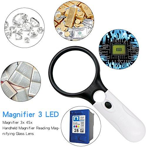Leselupe 3X 45X Lupe mit 3 LED Licht, Rusee Handlupe Vergrößrungglas Lesevergrößerungsglas für Senioren, Lesen, Inspektion, Hobby, Handwerk, Uhrmacher , Münzen, Briefmarken, Antiquitäten, Objektiv Schmuck Lupe Weiß und Schwarz - 6
