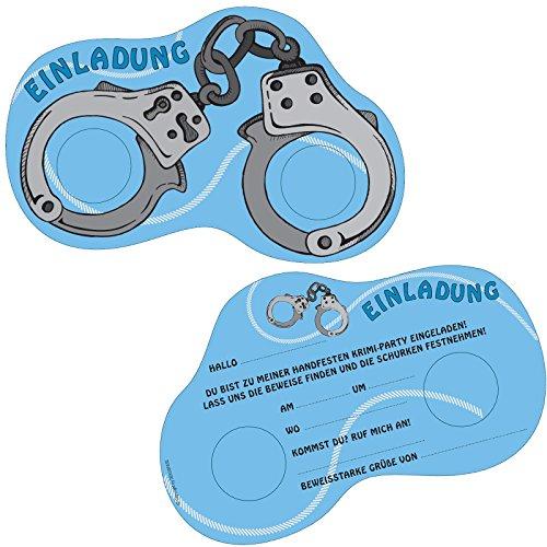 6 Einladungskarten POLIZEI & DETEKTIV