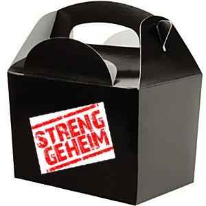 6x Mitgebselboxen Streng geheim, Detektivparty, Partyboxen