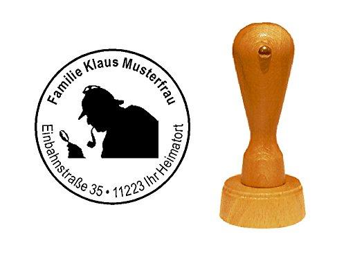 Holzstempel Motivstempel « DETEKTIV » mit persönlicher Adresse