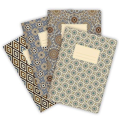 etmamu 530 4er-Set Notizhefte Muster Marokko A5, 32 Blatt blanko