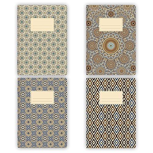 etmamu 530 4er-Set Notizhefte Muster Marokko A5, 32 Blatt blanko - 2