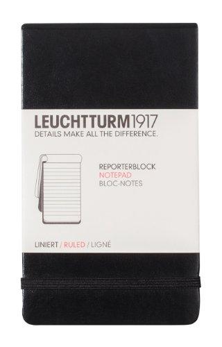 Leuchtturm1917 327986 Reporterblock Pocket A6, Lineatur: liniert, schwarz